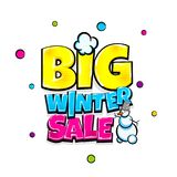 Comic text advertise glosssy winter sale. Big winter sale comic text pop art advertise. Offer discount price comics book poster phrase. Vector colored halftone Stock Photos
