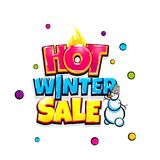 Comic text advertise glosssy winter sale. Hot winter sale comic text pop art advertise. Offer discount price comics book poster phrase. Vector colored halftone Royalty Free Stock Image