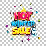 Comic text advertise glosssy winter sale. Hot winter sale comic text pop art advertise. Offer discount price comics book poster phrase. Vector colored halftone Stock Image