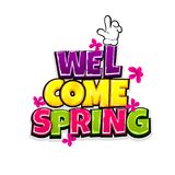 Comic text advertise hello spring. Welcome spring vacation travel comic text pop art advertise. Cute comics book summertime poster phrase. Vector colored Stock Photography