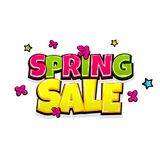Comic text advertise spring sale. Low price spring sale comic text pop art advertise. Cute comics book seasonal rates poster phrase. Vector colored halftone Stock Photography