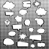 Comic text boxes with elements and dot pattern. Vector illustration Stock Photos