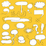 Comic  text clouds in pop art style, set, hand drawn, vector  Royalty Free Stock Photos