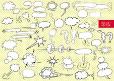 Comic  text clouds in pop art style, set, hand drawn, vector Royalty Free Stock Photo