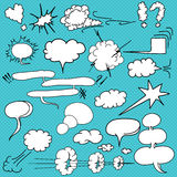 Comic  text clouds in pop art style, set, hand drawn, vector Royalty Free Stock Images