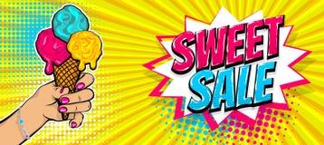 Comic text ice cream sweet sale pop art stock illustration