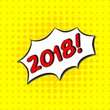 2018 - Comic Text, Pop Art style. Free handdrawn typography lettering with yellow dotted halftone background. Vector Stock Photos