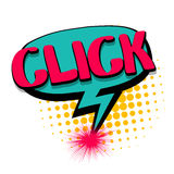Comic text speech bubble click, button Royalty Free Stock Photo