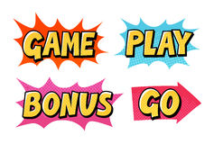Comic text vector icons. Lettering such as Game, Play, Go, Bonus Royalty Free Stock Photo