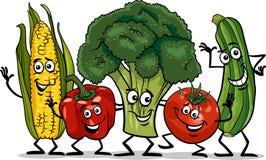 Comic vegetables group cartoon illustration. Cartoon Illustration of Happy Vegetables Food Characters Group Stock Photo
