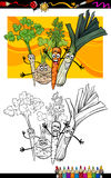 Comic vegetables group for coloring book Stock Photos