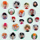 Comic version of network. Cold porcelain clay sculpted puppets Stock Photo