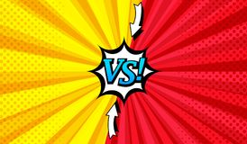 Comic versus bright horizontal background. With two opposite sides, arrows, speech bubble, radial and halftone effects in red and yellow colors. Vector Stock Illustration