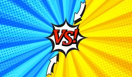 Comic versus horizontal background. With two opposite sides, arrows, white speech bubble, radial and halftone effects in blue and yellow colors. Vector Vector Illustration