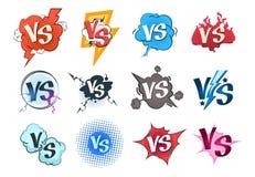 Comic versus logos. VS pop art retro game concept, cartoon fight bubble template, boxing competition. Vector versus royalty free illustration