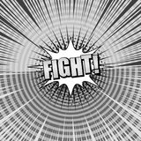 Comic versus monochrome template. With two sides, Fight inscription, halftone, rays and circles effects in gray colors. Vector illustration Stock Photos