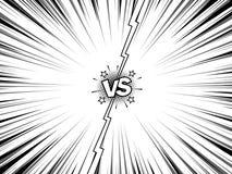 Comic versus super hero battle intro background. Comic book versus template blank background, vintage magazine page style, battle intro Stock Photo