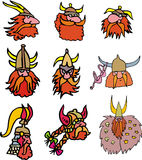 Comic viking heads Stock Images