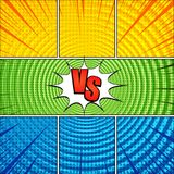 Comic vs bright composition. With VS red inscription white speech bubble rays circles and halftone humor effects on yellow green blue backgrounds. Vector Royalty Free Stock Photography