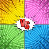 Comic vs bright concept. With red inscription white speech bubble rays circles and halftone humor effects in yellow pink green blue colors. Vector illustration Royalty Free Stock Photo
