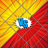 Comic vs bright concept. With two opposite sides on many frames white speech bubble rays halftone radial humor effects in red and yellow colors. Vector Stock Image