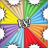 Comic vs colorful concept. With eight opposite sides white speech bubbles halftone and radial humor effects. Vector illustration Royalty Free Stock Image