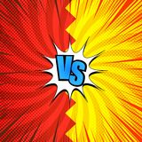 Comic vs concept. With blue letters two red and yellow opposite sides rays halftone radial humor effects. Vector illustration Royalty Free Stock Photos