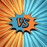 Comic VS creative background. With two opposite sides, speech bubble, halftone, rays and radial humor effects. Vector illustration Royalty Free Stock Photos