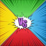 Comic vs light template. With purple inscription white speech bubble rays radial and halftone humor effects on yellow green blue red diamond shape backgrounds Royalty Free Stock Photo