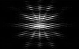 Comic white dotted gradient halftone pop art retro style design on black background. Monochrome shine star or sun Royalty Free Stock Image