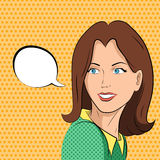 Comic woman says. Business woman in a green blouse says. Comic style royalty free illustration