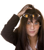 Comic woman in two spectacles. Royalty Free Stock Photos