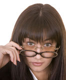 Comic woman in two spectacles. Concept Stock Photo