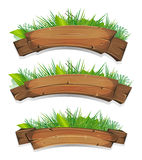 Comic Wood Banners With Plants Leaves Stock Photos