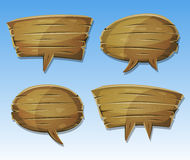 Comic Wood Speech Bubbles Set Royalty Free Stock Photography