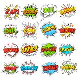 Comic words. cartoon boom crash speech bubble funny elements and kids sketch stickers vector icons set royalty free illustration