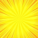 Comic yellow bright background. With rays radial and halftone effects. Vector illustration Royalty Free Stock Image