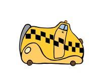 Comic yellow taxi Stock Image