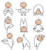 Comic Yoga Man Collection Stock Image
