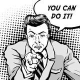 Comic you can do it. Retro man frowning with pointing finger and says you can do it, comic book style speech bubble, pop art, black and white Stock Image