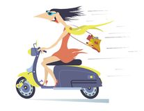 Comic young woman rides on the scooter. Funny young woman in the sunglasses with long disheveled on the wind hair speeds on the scooter isolated on white royalty free illustration