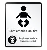 Comical baby changing facilities Information Sign. Monochrome comical baby changing facilities public information sign isolated on white background vector illustration