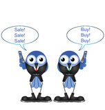 Comical bird stock traders. Buying and selling shares isolated on white background Stock Photos