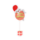 Comical 3D illustrated man climbs balloon. That reads Happy Birthday tied to square red present Stock Images