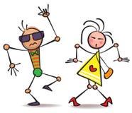 Comical dancing people Royalty Free Stock Photos