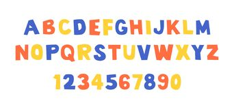 Comical font and alphabet. Colorful of comical font and alphabet. Isolated on White background stock illustration