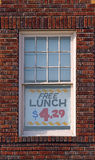 Comical sign in window Royalty Free Stock Photography