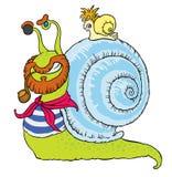 Comical snail-sailor Stock Images