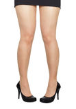 Comical standing woman's legs on white background Royalty Free Stock Photos
