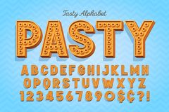 Comical tasty 3d display font design, alphabet, letters. And numbers. Swatch color control vector illustration